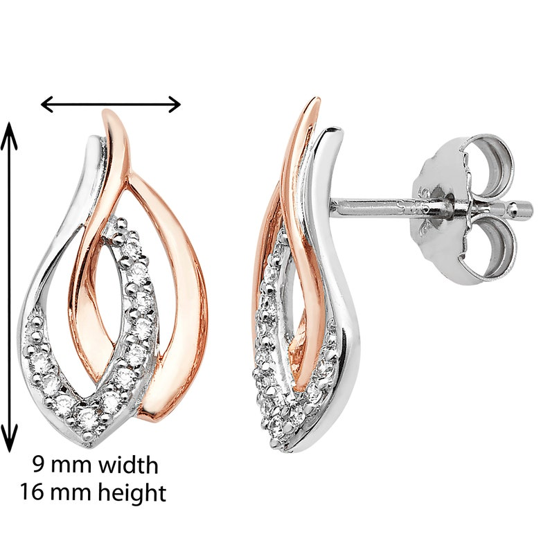 Hypoallergenic Earring for Women C Aeon Sterling Silver 2 Tone Rose Gold plate Interlinked Pear Drop Earring Set With White Cubic Zirconia