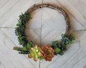 Artificial Succulent Wreath, Faux Succulent Wreath, Boxwood Wreath, Front Door Wreath, Indoor Wreath, Handmade Wreath, Housewarming Gift