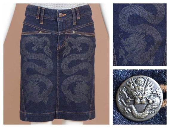 Vivienne Tam Double Dragon Denim Skirt
