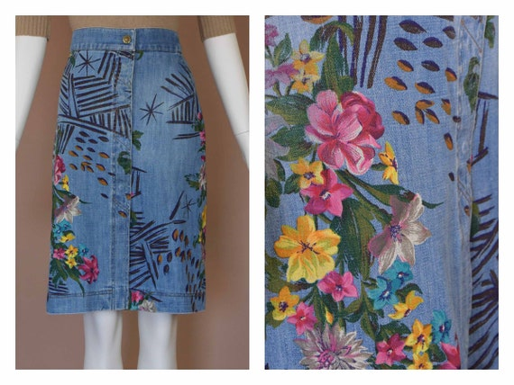Kenzo Painted Denim Skirt