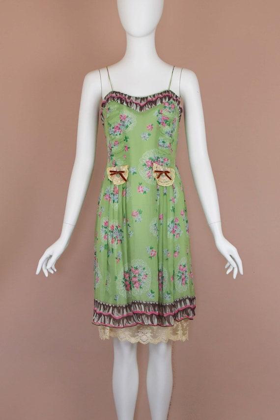 Anna Sui Romantic Chartreuse Vintage Slip Dress (… - image 2