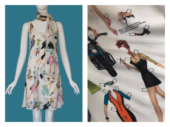 Nicole Miller Vintage Silk Paper Dolls Dress with