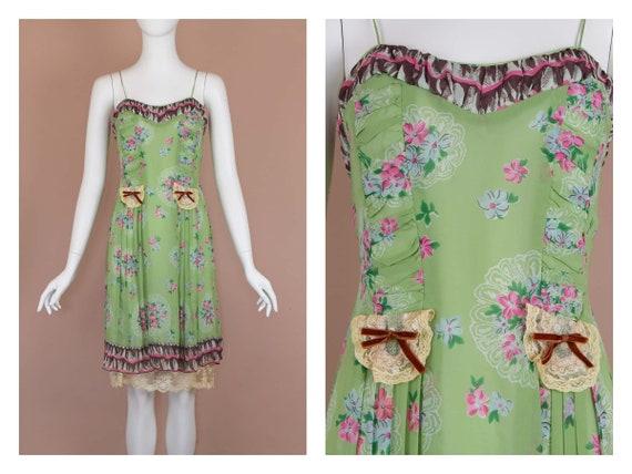Anna Sui Romantic Chartreuse Vintage Slip Dress (… - image 1