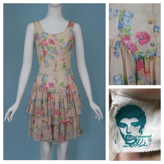Betsey Johnson Punk Label Vintage Floral Tiered Dr