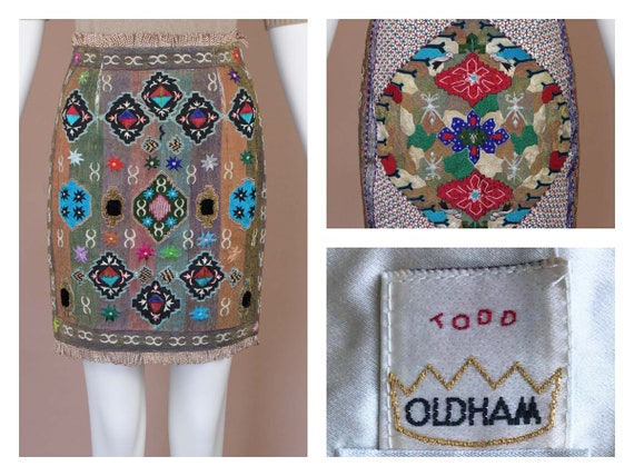Todd Oldham Vintage Couture Embroidered Skirt