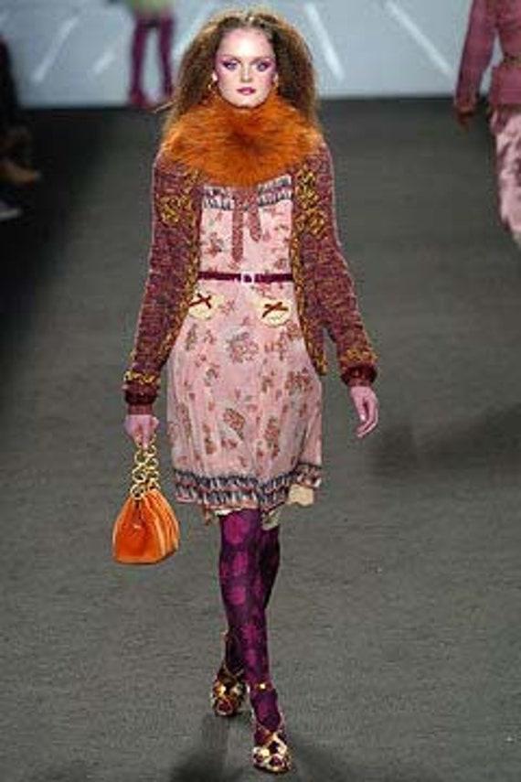 Anna Sui Romantic Chartreuse Vintage Slip Dress (… - image 8