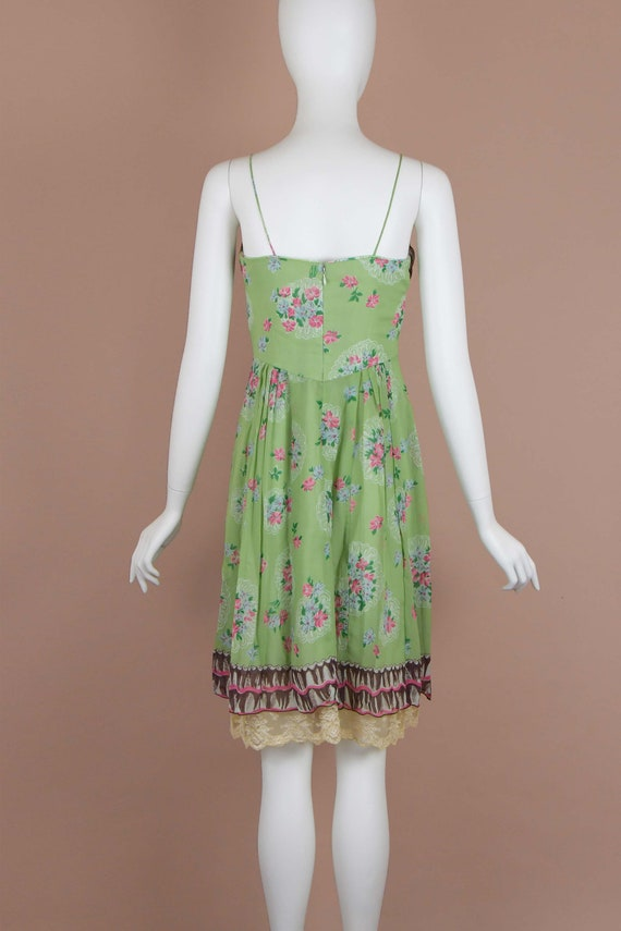 Anna Sui Romantic Chartreuse Vintage Slip Dress (… - image 5