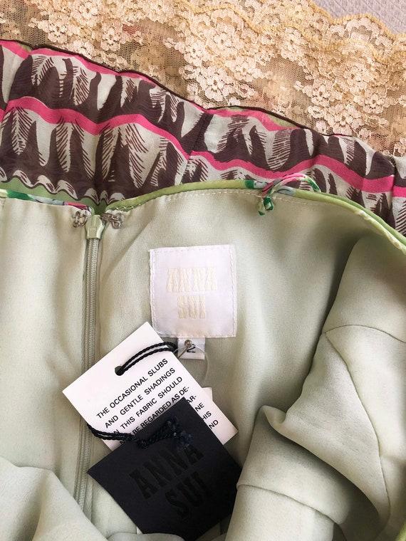 Anna Sui Romantic Chartreuse Vintage Slip Dress (… - image 7