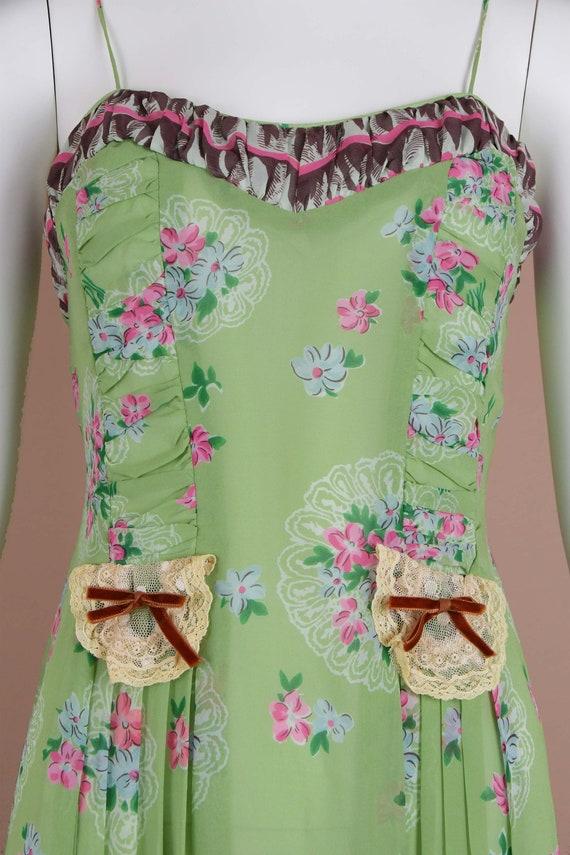Anna Sui Romantic Chartreuse Vintage Slip Dress (… - image 6