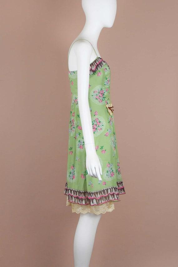 Anna Sui Romantic Chartreuse Vintage Slip Dress (… - image 4