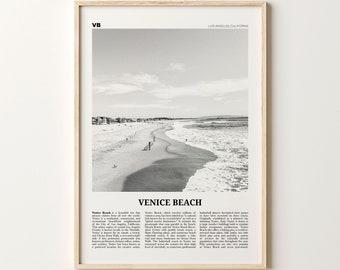 Coastal Decor Venice Beach Print California Poster Marine Decor Venice Beach Satellite Image Poster Venice Beach Wall Art Surfer Print