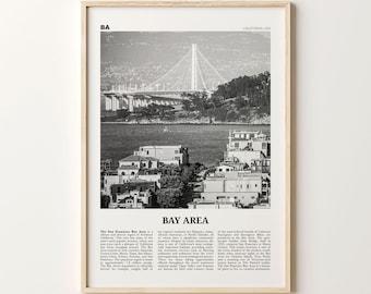 Bay Area Print Black and White Bridge, Bay Area Wall Art, Bay Area Poster, California, USA, United States, San Francisco Bay Area Photo
