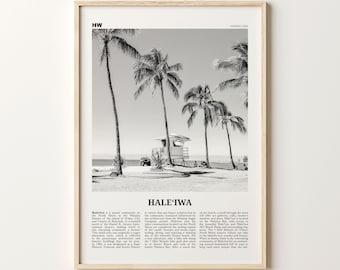 Haleiwa Print Black and White Beach, Haleiwa Wall Art, Haleiwa Poster, Haleiwa Photo, Haleiwa Wall Décor, Hawaii, USA, United States