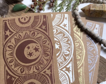 Kraft Greeting Card / Esoteric Card / Moon / Embossed Print / With Envelope / Metallic Print