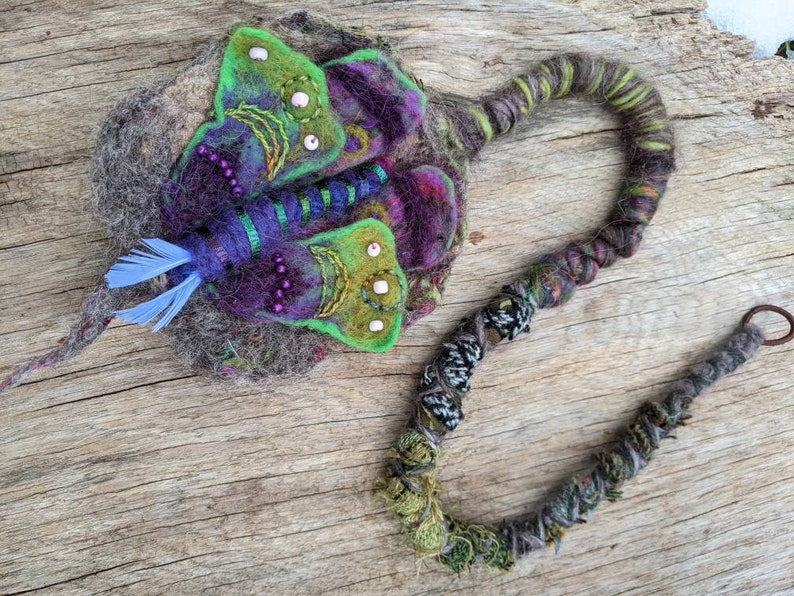 Dreadlock Hair Wrap  Wool Moth Chrysalis Dread Talisman image 0