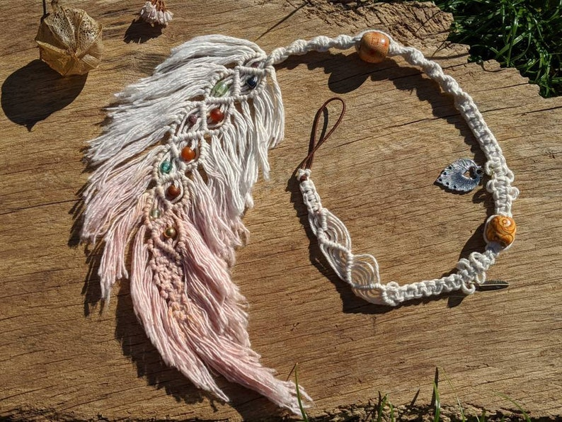 Macrame Feather Dread Wrap / Dangle hair wrap made to order image 0