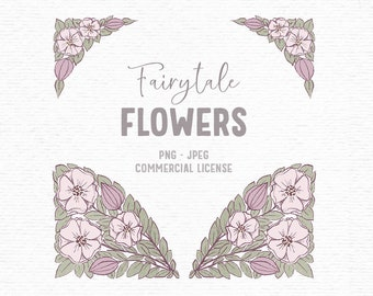 Digital hand drawn spring clipart with pink florals