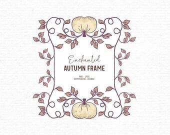 Digital hand drawn autumn frame clipart