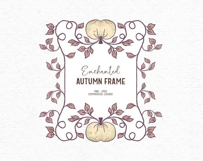 Featured listing image: Digital hand drawn autumn frame clipart