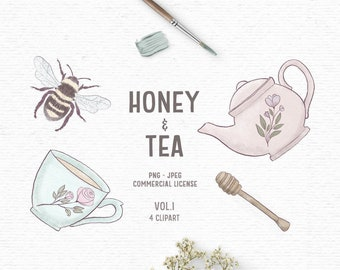 Digital hand drawn bee clipart with tea and honey in pink