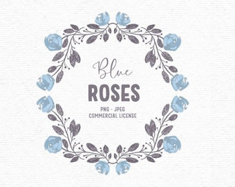 Digital flower wreath clipart with blue roses