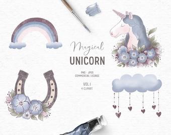 Digital hand drawn unicorn clipart in blue