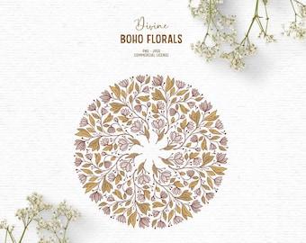 Digital boho clipart with floral mandala
