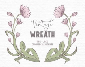 Digital vintage hand drawn floral clipart in pink