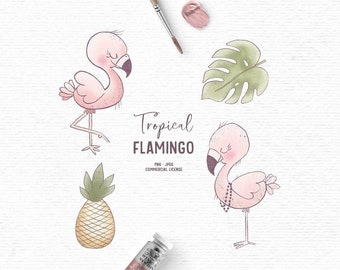 Digital hand drawn pink flamingo clipart