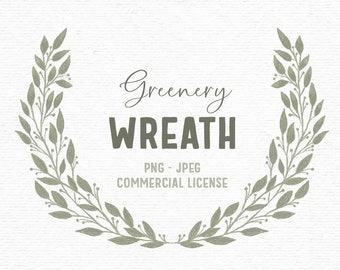Digital rustic greenery clipart laurel. Whimsical hand drawn floral clipart for wedding invitations. Boho spring clipart for scrapbooking