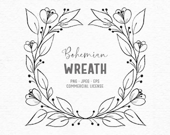 Digital vintage hand drawn floral clipart in black and white