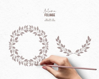 Digital hand drawn greenery clipart