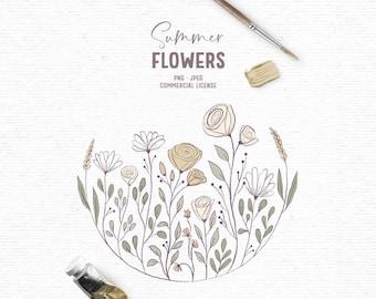 Digital hand drawn flower summer clipart in yellow