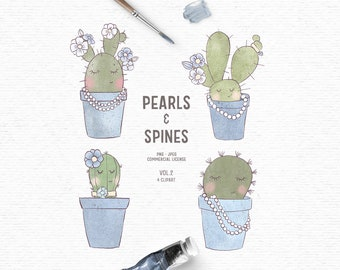 Digital hand drawn cactus clipart in green and blue