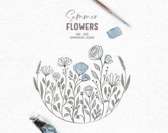 Digital hand drawn flower summer clipart in blue
