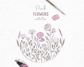 Digital hand drawn flower summer clipart in pink