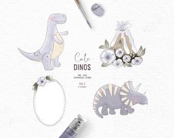 Digital hand drawn dinosaur clipart clipart in blue