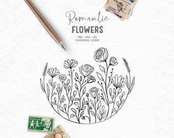 Digital hand drawn floral digital stamp clipart in black and white