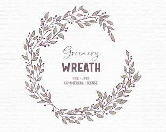 Digital rustic greenery clipart wreath in green