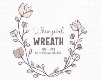 Digital rustic flower wreath clipart in beige and pink