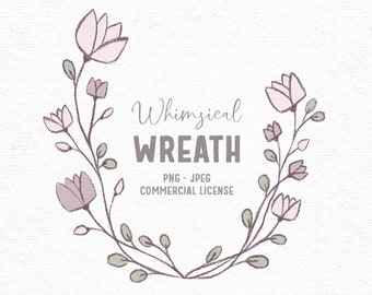 Digital rustic flower wreath clipart in pink