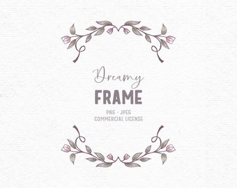 Digital hand drawn flower frame clipart in pink