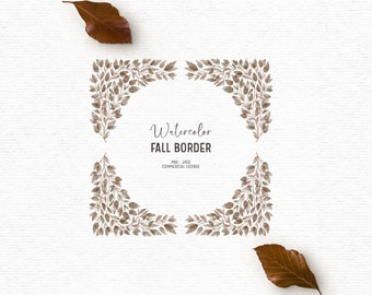 Watercolor fall clipart with foliage