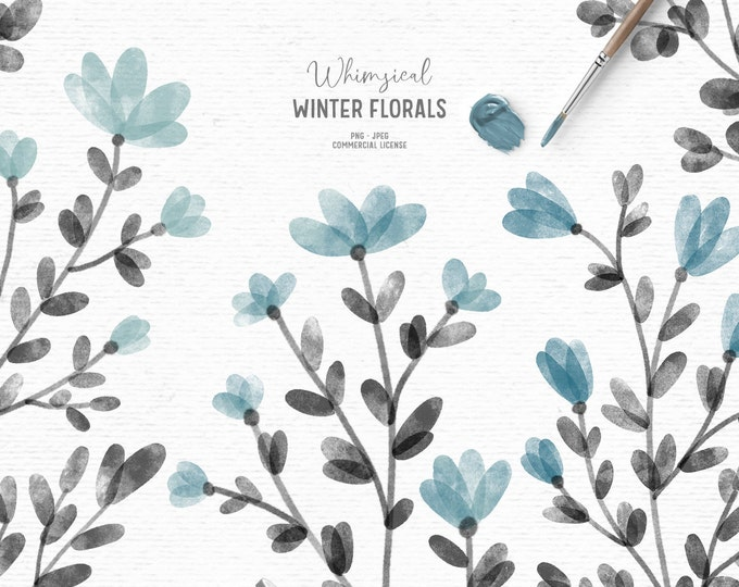 Featured listing image: Digital watercolor floral clipart