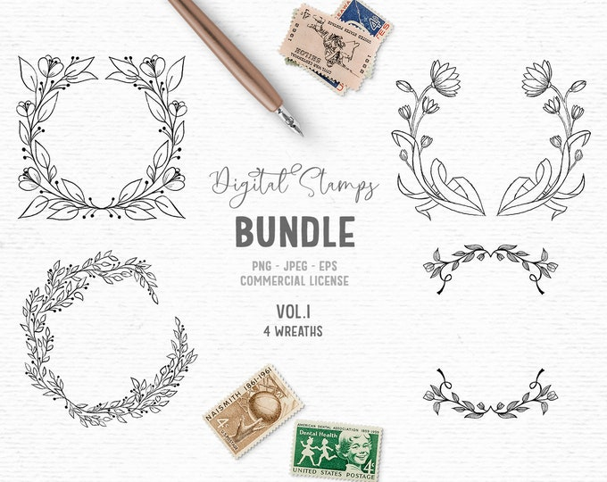 Featured listing image: Hand drawn digital stamps bundle in black and white