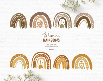 Digital boho rainbow clipart