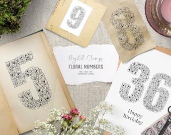 Vintage floral number clipart