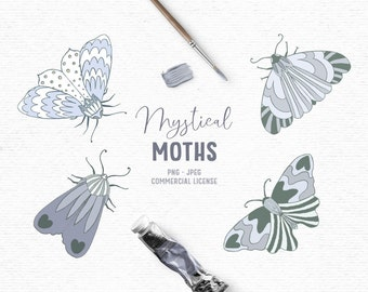 Digital hand drawn boho clipart with moths in blue and gray