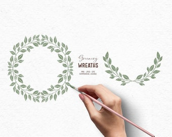 Digital hand drawn greenery clipart with wreath and laurel