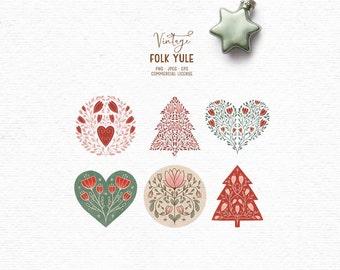 Digital hand-drawn Christmas clipart
